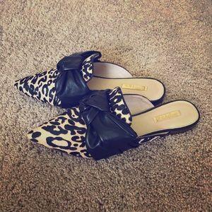 Louise et Cie leopard mules with black bows